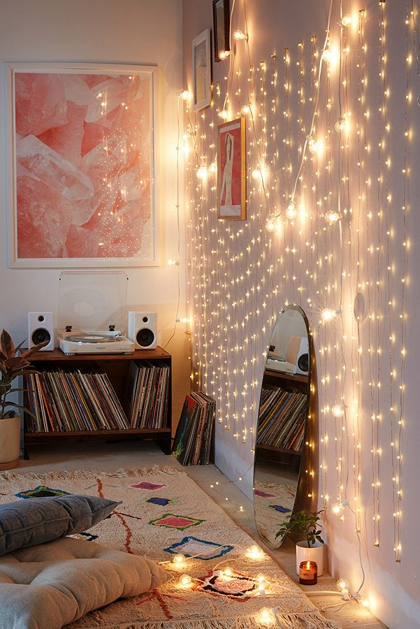 diy bedroom upgrade - fairy lights