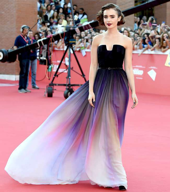 Lily Collins in the stunning dress that spawned a million bridesmaids imitiations!