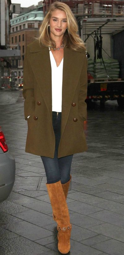 Rosie works contrasting neutrals beautifully, and offsets it with a great pair of boots