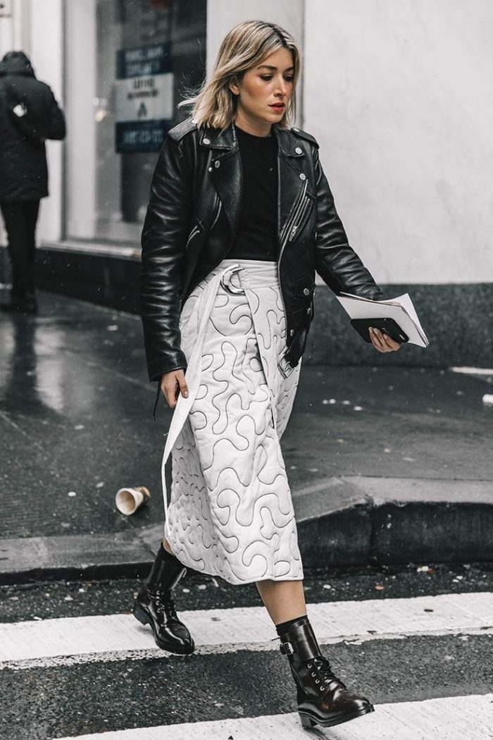 winter outfit ideas leather jacket