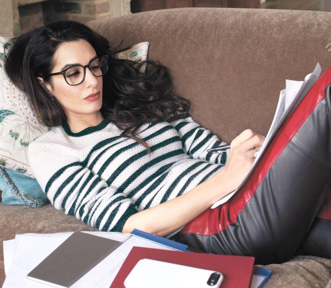 womens knitwear striped sweater amal clooney