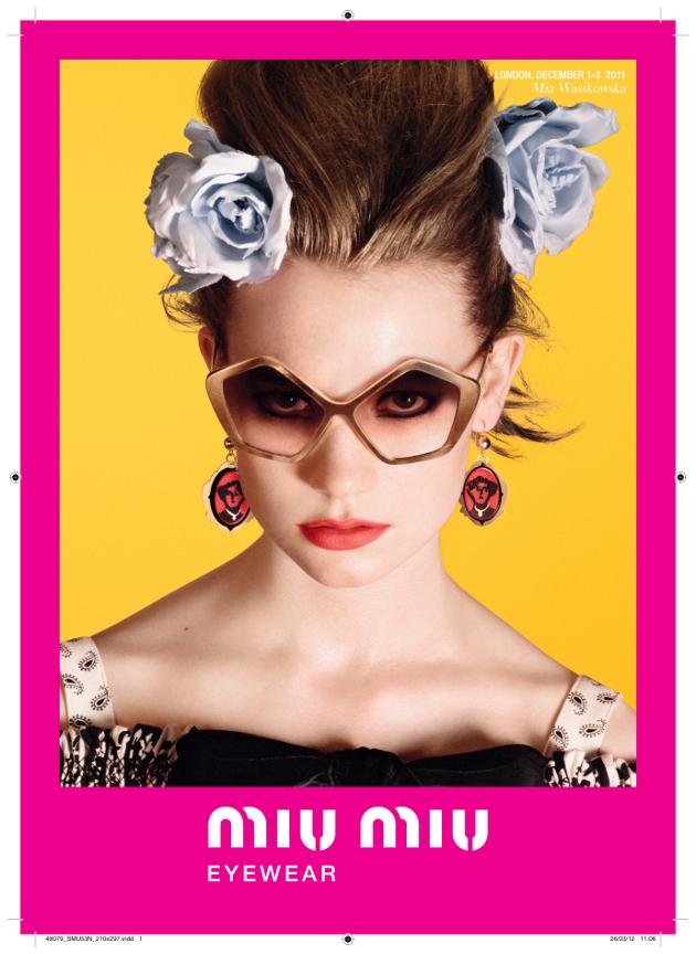 3acd7241790 Mia Wasikowska For Miu Miu s Culte Sunglasses