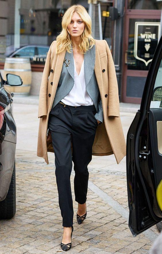 Anja Rubik street style masculine styling
