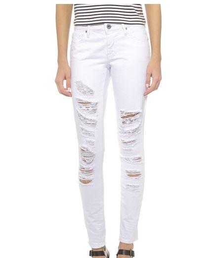 BB Dakota Khloe Shredded White Jeans
