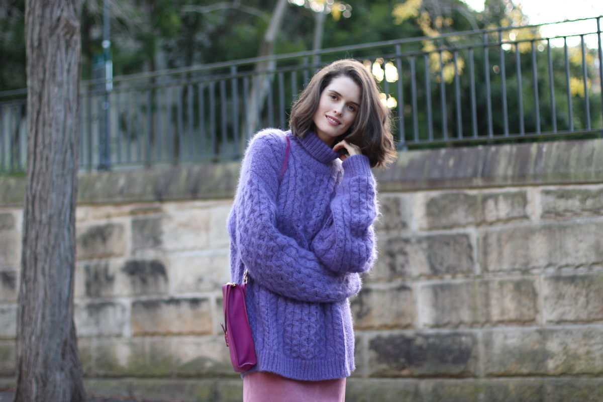 BYCHILL-Chloe-Hill-in-Christopher-Kane-Fluffy-Purple-Angora-knit-pink-suede-skirt-and-Sophie-Hulme-Pink-Shoulder-Bag