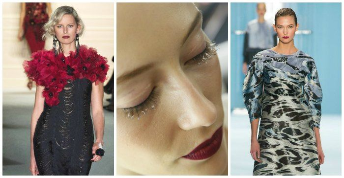 Moody 20's looks at Marchesa (left and centre) and fresh berry lips at Carolina Herrera (right). Images: style.com