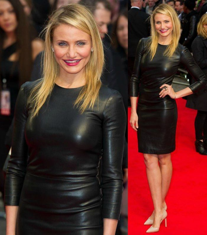 Cameron Diaz rocks a leather dress at 'The Other Woman' premiere. Image: trend911.com