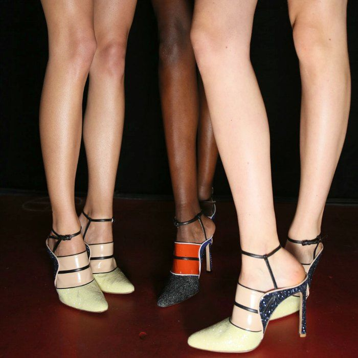 Legs backstage at Nichola Joss' LFW S/S 15. Image: harpersbazaar.co.uk