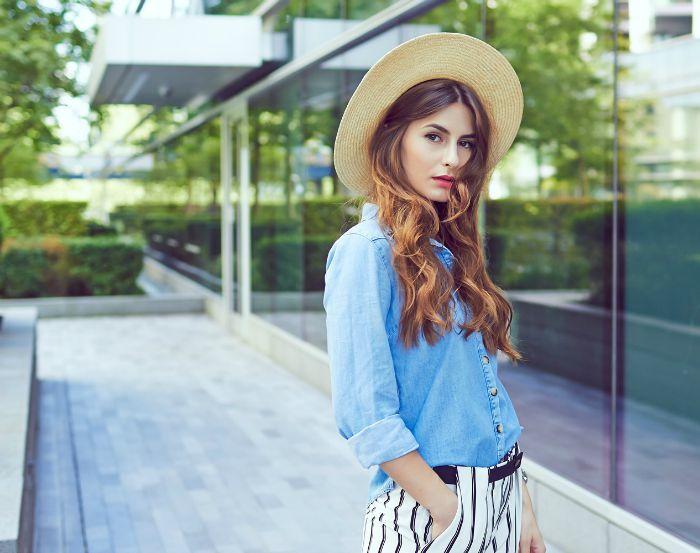 spring Denim-shirt-straw-hat-street-style-London