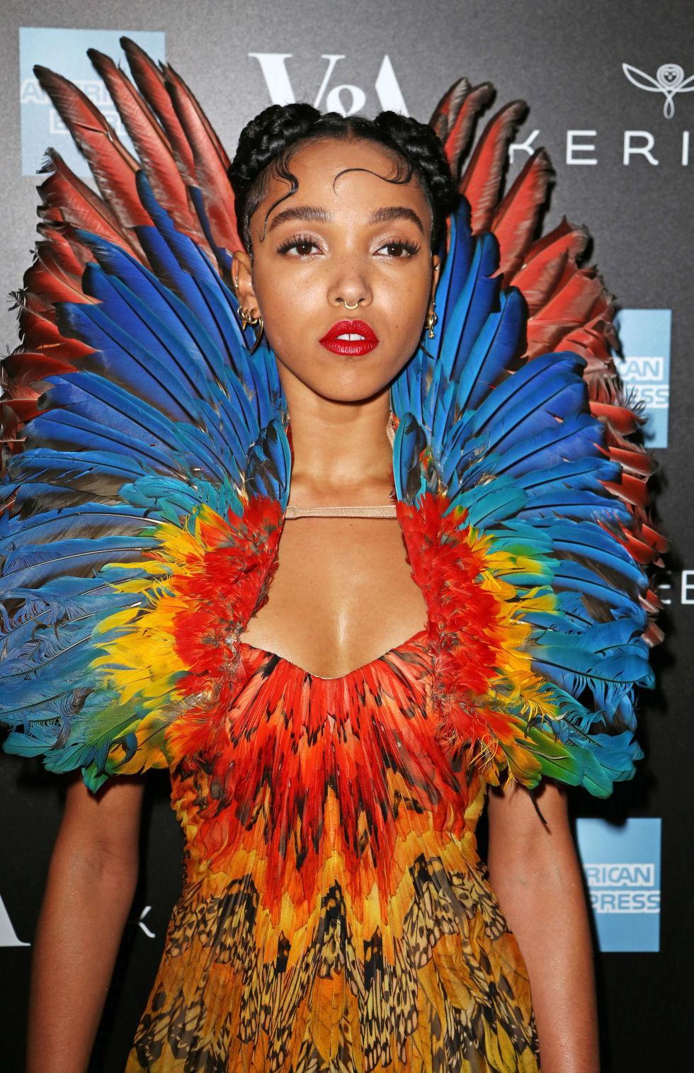 FKA Twigs in McQueen parrot dress