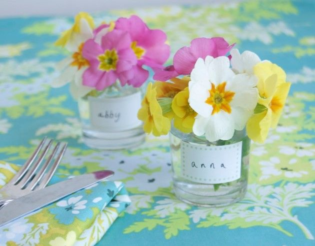 Flower Posies on a spring table ideas for easter table setting from Chelsea Fuss