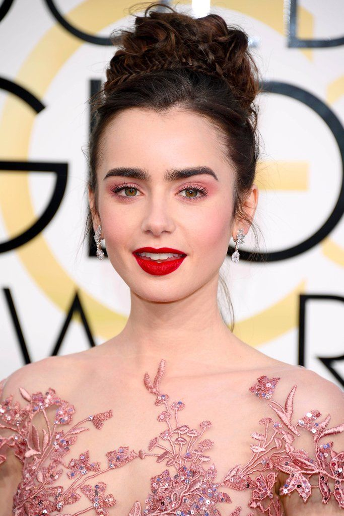 how-to-do-the-lily-collins-hair-makeup-2017-golden-globes