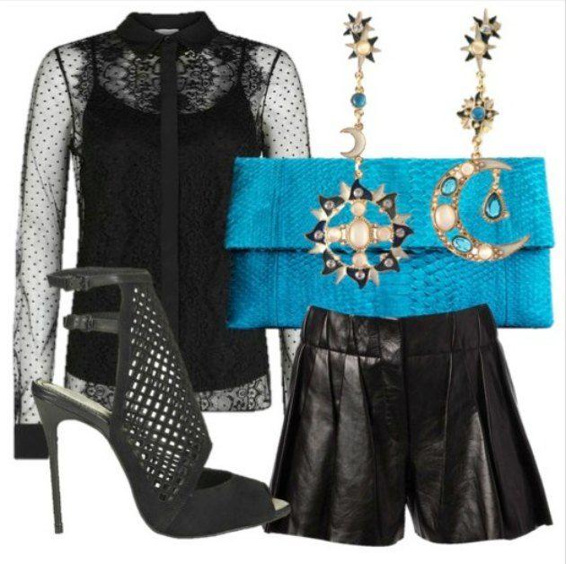 Hobbs lace shirt  Alexander Wang leather shorts  Sun & Moon earrings  Python clutch  Top Shop CJG sandal