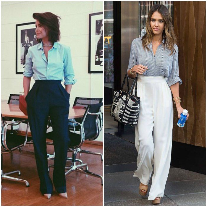 Miroslava Duma looks tailored and chic for the boardroom (Image via Pinterest), whilst Jessica Alba shows a softer, more casuall way to style this look. (Image: glamradar.com)
