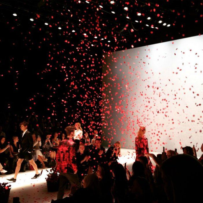 Showered with red petals at Jayson Brunsdon's star-studded show on Day Two, MBFWA