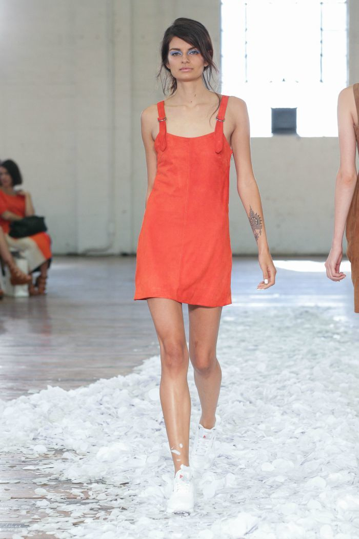 Jennifer Kate Suede Overall Dress MBFWA 2015