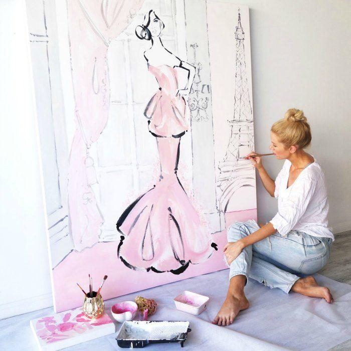 Kerrie Hess Painting in Studio Pink Canvas
