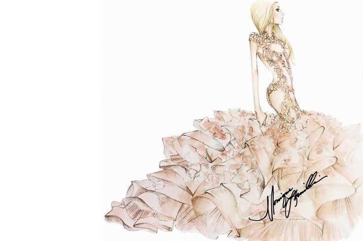 Sketch: Monique Lhuillier. Image: fashiongonerogue.com