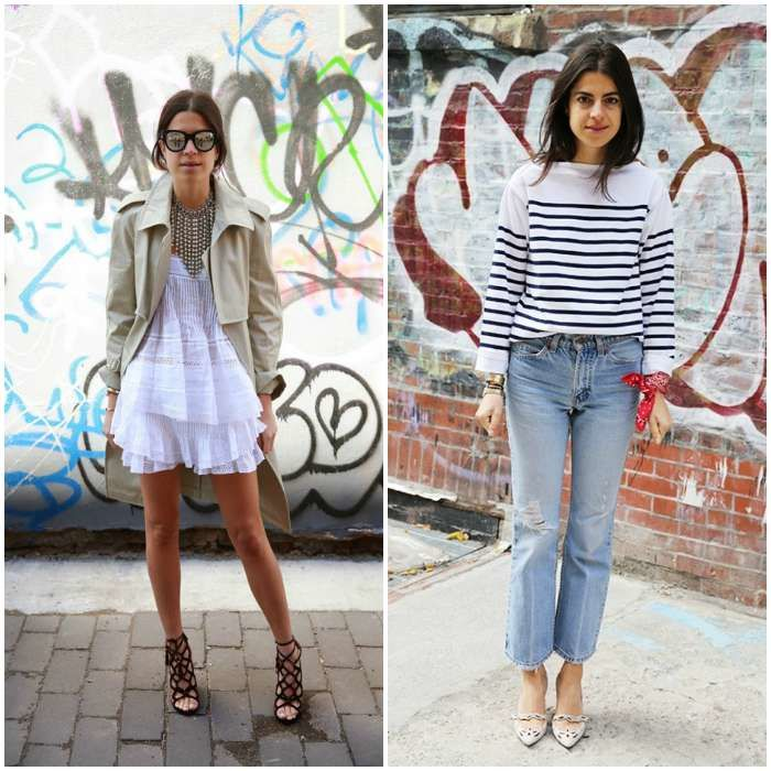 The world's most inventive dresser, Leandra Medine, is always mixing old with new. Image:http://www.huntinginheelsfashionblog, www.toovia.com