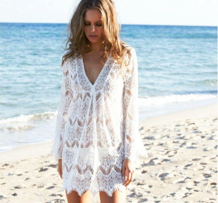 Long-Beach-Dress-White-Lace-Crochet-Lace-Cover-up-Shirt-Loose-Dresses
