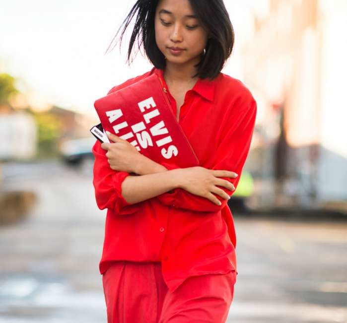 Margaret Zhang all red outfit monochrome inspiration