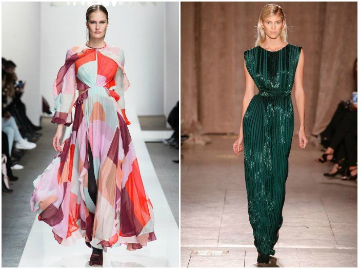 Flowy 70's kaleidoscopic maxi dresses at Zimmermann and sophisticated disco at Zac Posen. Images: style.com