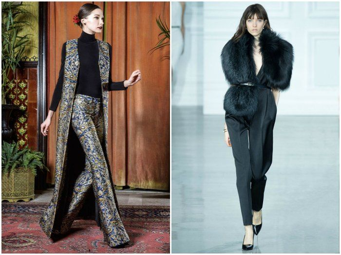 Long lines and opulent brocade at Alice + Olivia vs sexy louche at Jason Wu. Images: style.com