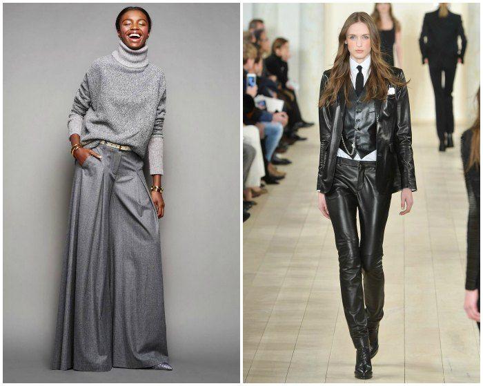 Left: JCrew Fall 2015 and Ralph Lauren. Images: style.com