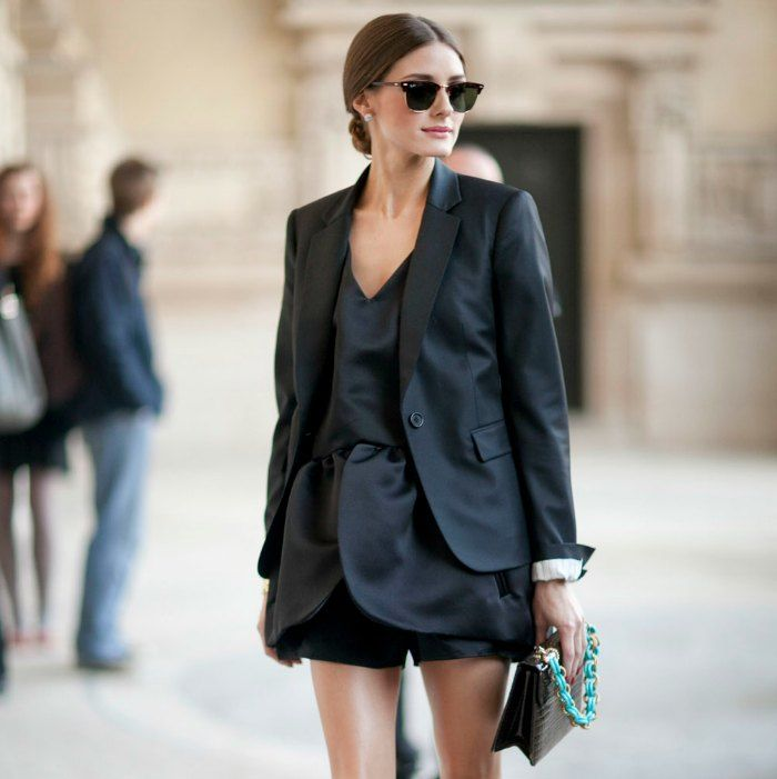Olivia Palermo rocks her classic tuxedo jacket over an un-identified under-garment. Still looks fab, don't you agree? Image: Pinterest.