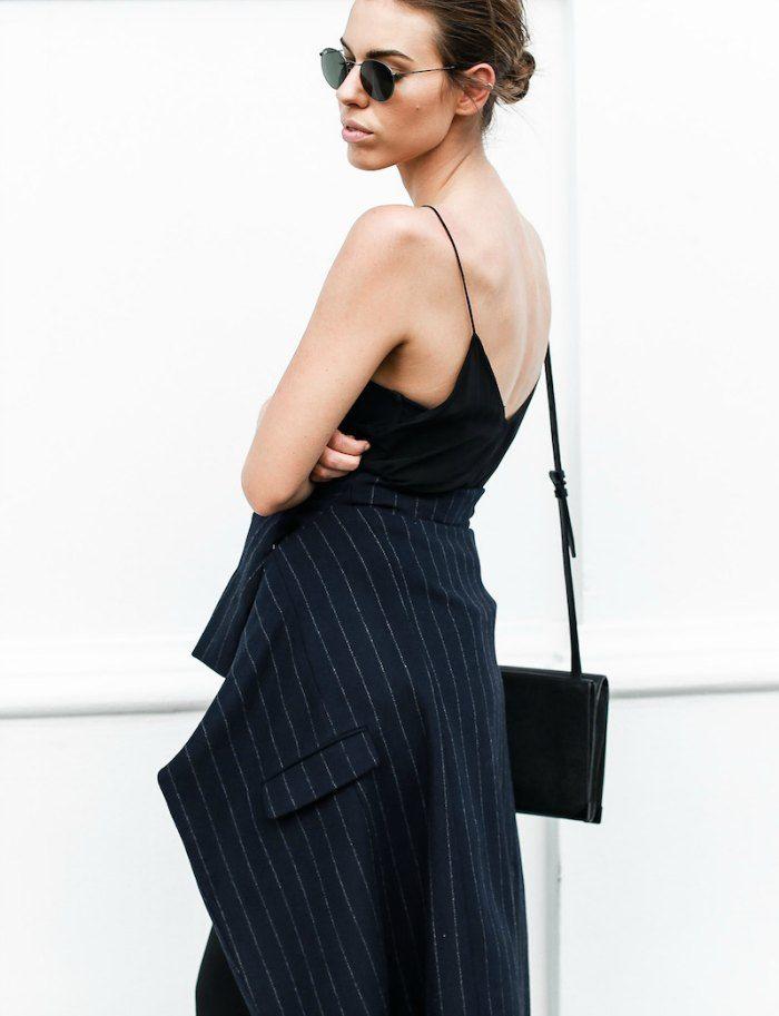 Modern Legacy combines a feminine silk slip with stripes. www.modernlegacy.com.au