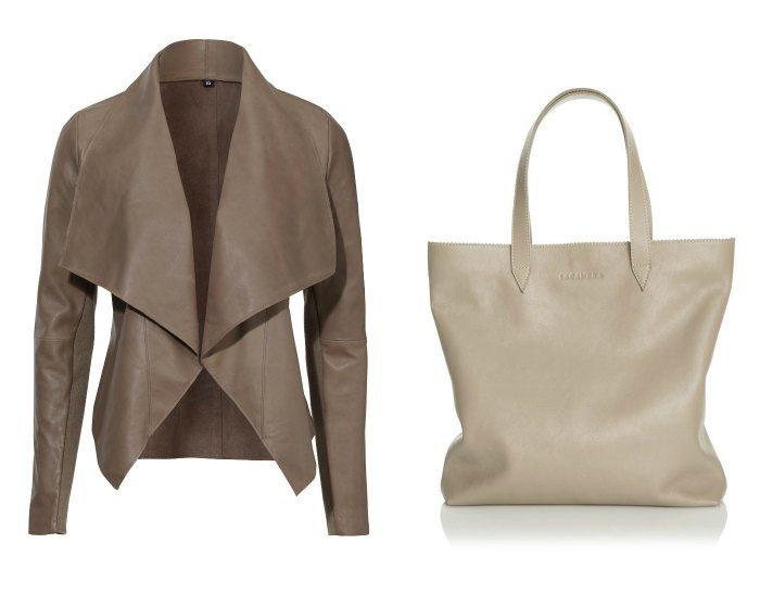 Mesop CROP LEATHER JACKET IN CARAMEL $299.00 , Lacambra SOFT TOTE BAG IN BEIGE LEATHER $260.00