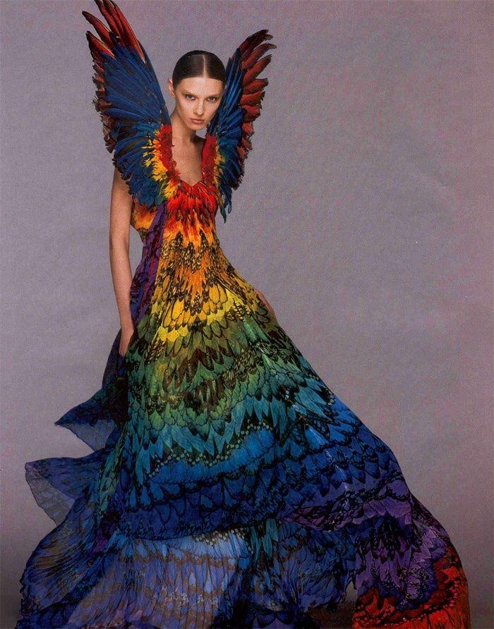alexander mcqueen parrot dress