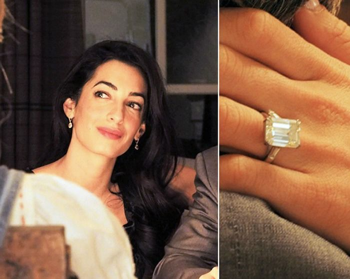 amal engagemtn ring close up