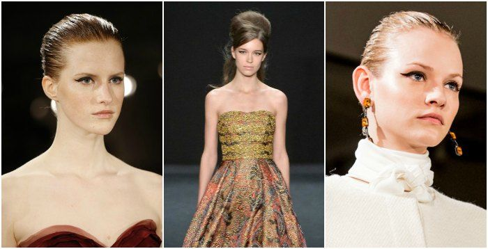 Winged Liner at Oscar De La Renta (left and right, Images: vogue.com) and 60's bouffant at Badley Mischka (centre: image style.com)