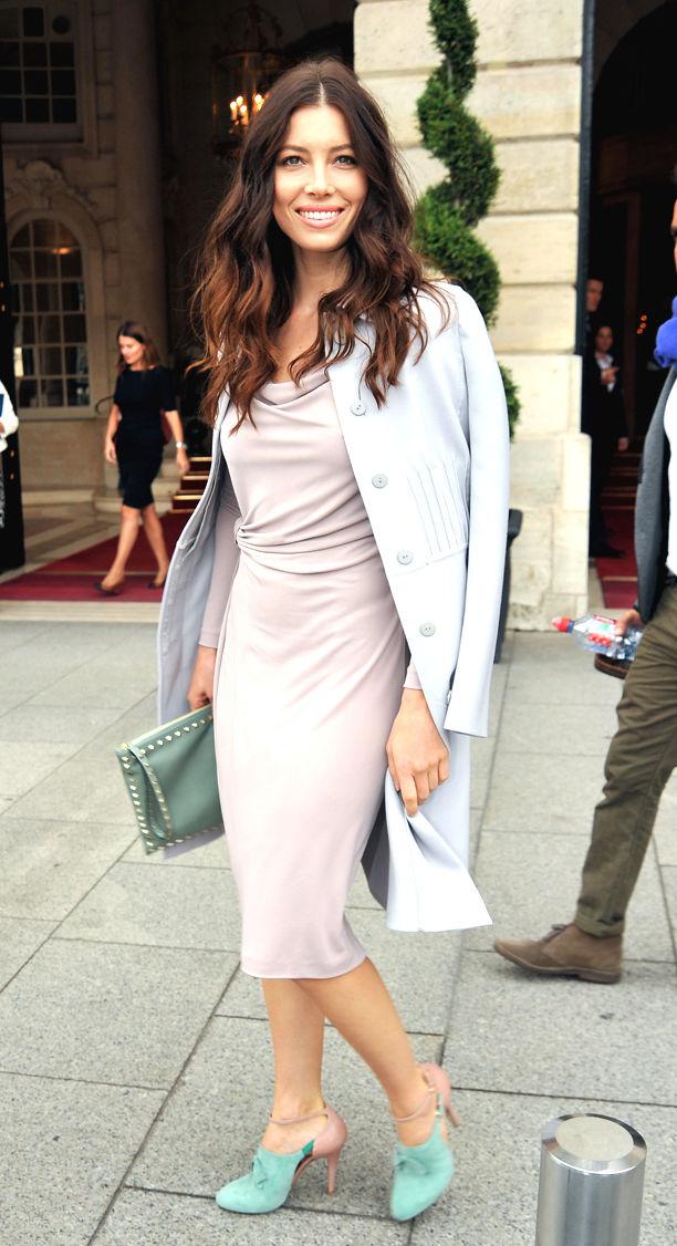 Jessica Biel Is Seen Leaving The Ritz In Paris