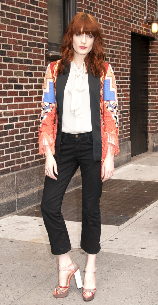 Florence Welch Gives a Wave at Late Show With David Letterman Show-NYC