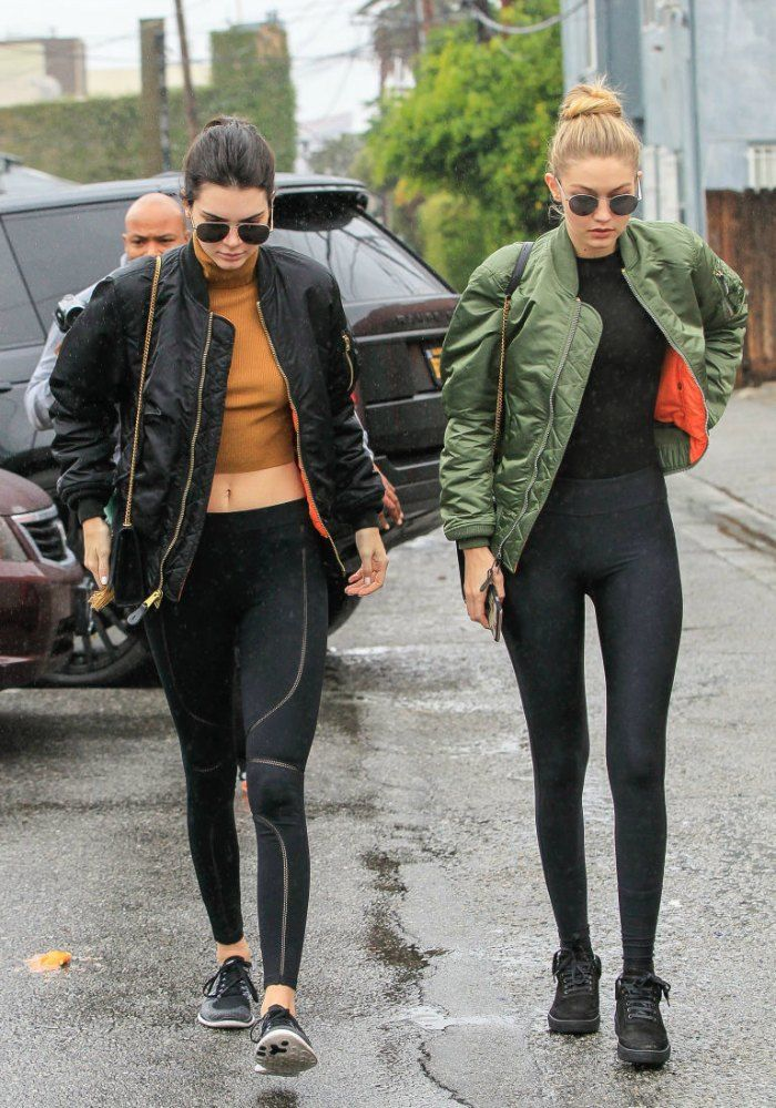 bomber jacket street style gigi and kendall