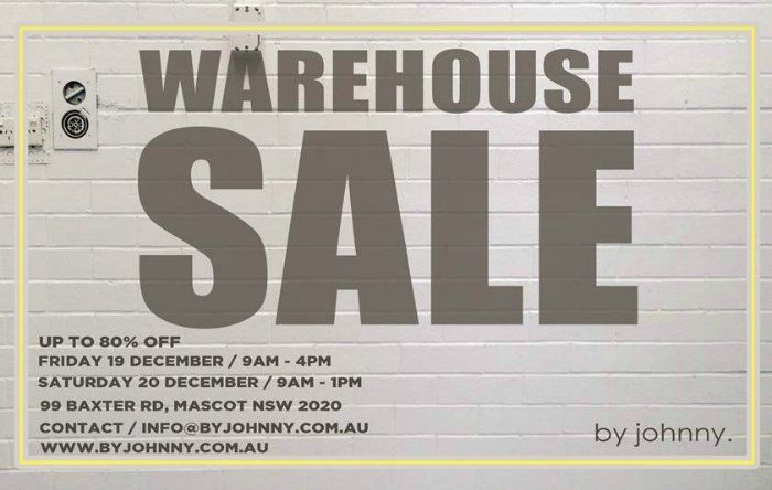 By Johnny December Warehouse Sale