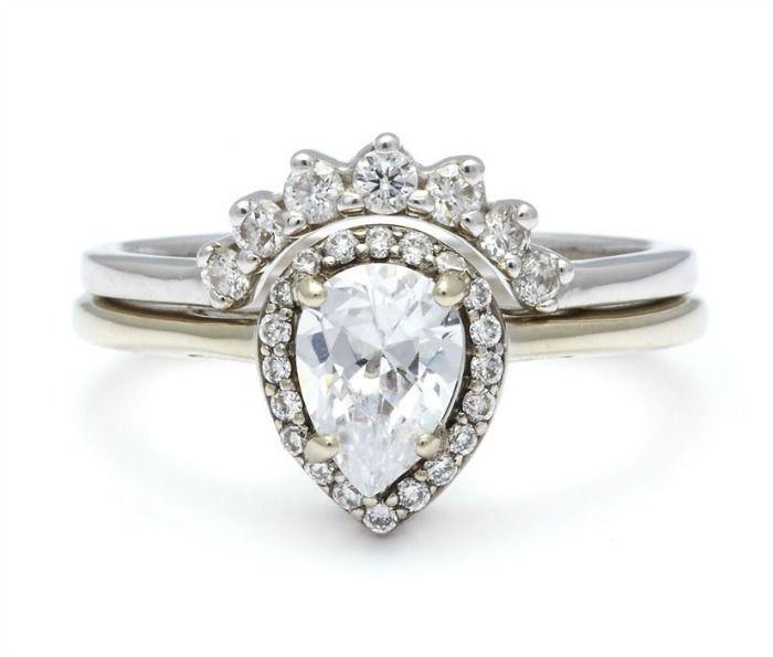 engagement rings white_on_white_pear_rosette