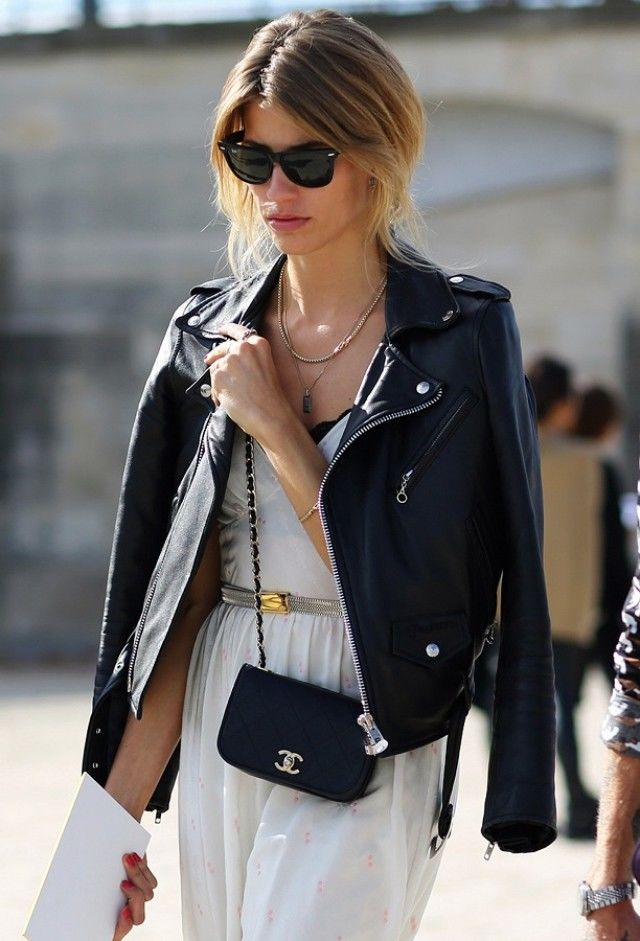 fashion ideas how to style a moto jacket