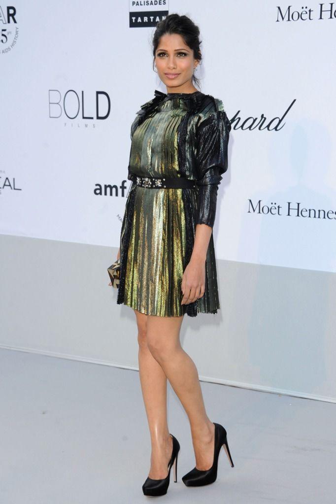 Freida Pinto In Cannes Wearing Lanvin Prada Stella Mccartney Breakfast With Audrey Outfit