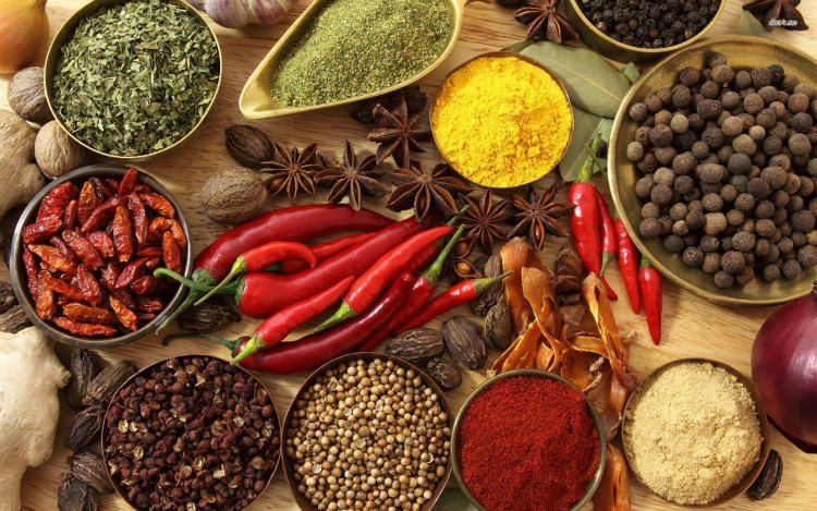 spices flat lay