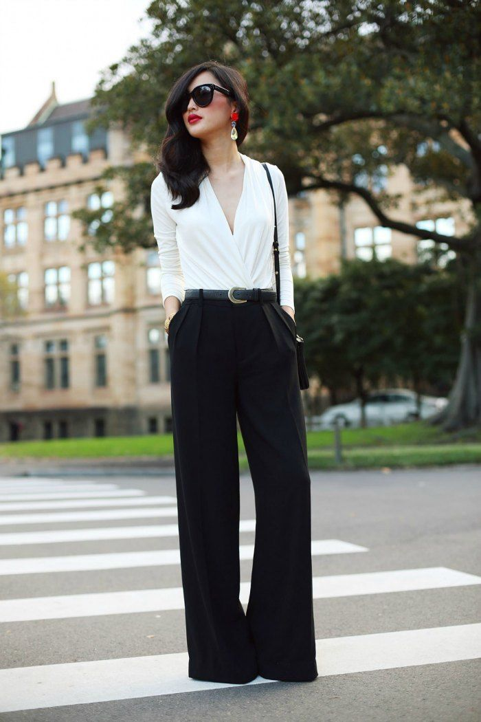 Nicole Warne of Gary Pepper effortlessly femininses wide legged pants. garypeppergirl.com