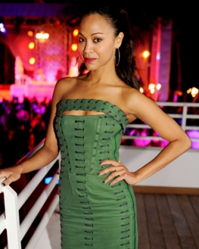 Zoe Saldana in Emilio Pucci at the James Royal Palm Hotel in Miami