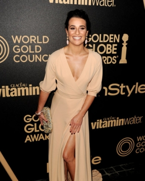 Lea Michele in Valentino at a Hollywood Foreign Press Association Party