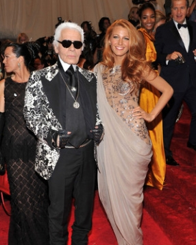 Blake Lively and Karl Lagerfeld At The Met Gala 2011