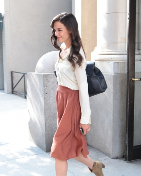 Katie Holmes In A Silk Blouse & Midi Skirt
