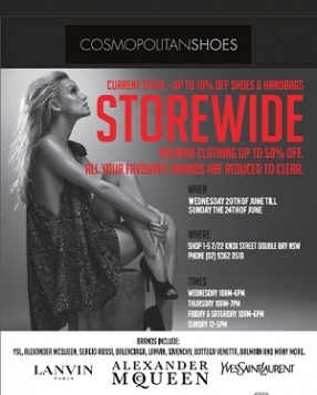 Cosmopolitan Shoes Huge Stocktake Sale Sydney 5 Days Only